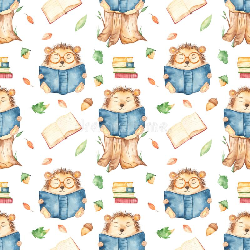 Watercolor seamless pattern with hedgehog reading school books stock image