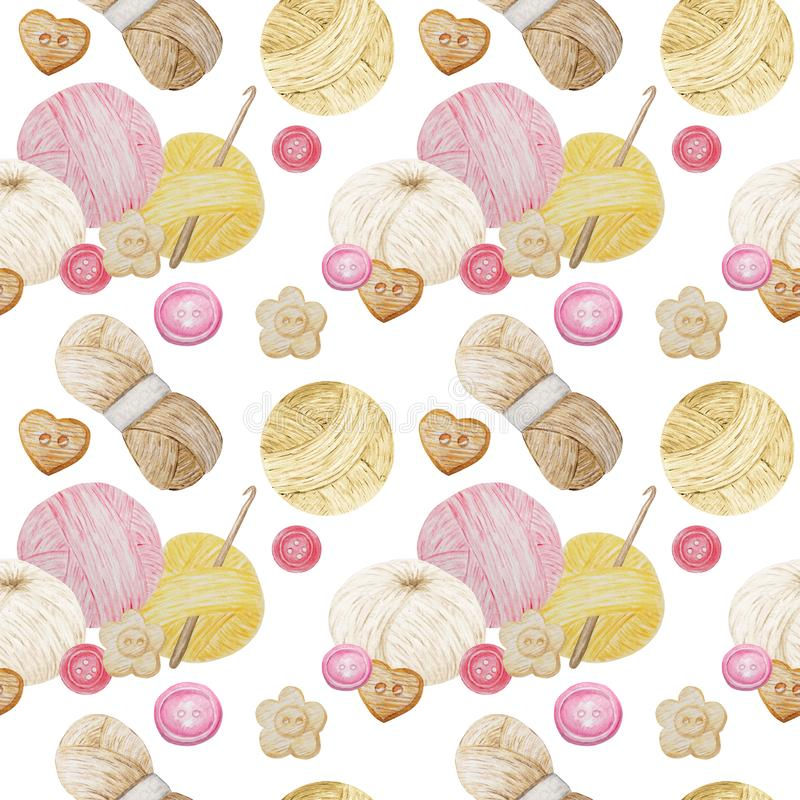 Watercolor Seamless pattern Hobby Knitting. Collection of hand drawn pink, yellow, beige, brown colors elements of. Knitting needles, knitted heart and buttons stock photos