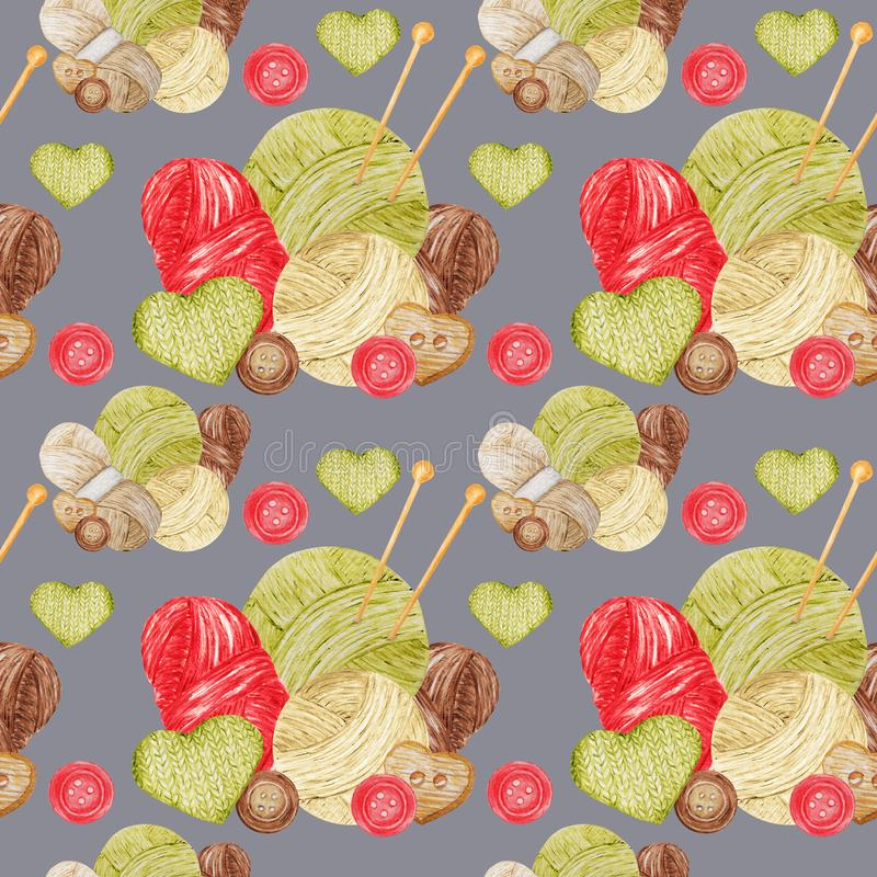 Free Watercolor Seamless Pattern Hobby Knitting. Collection Of Hand Drawn Red, Green, Beige, Brown Colors Elements Of Royalty Free Stock Image - 158457766