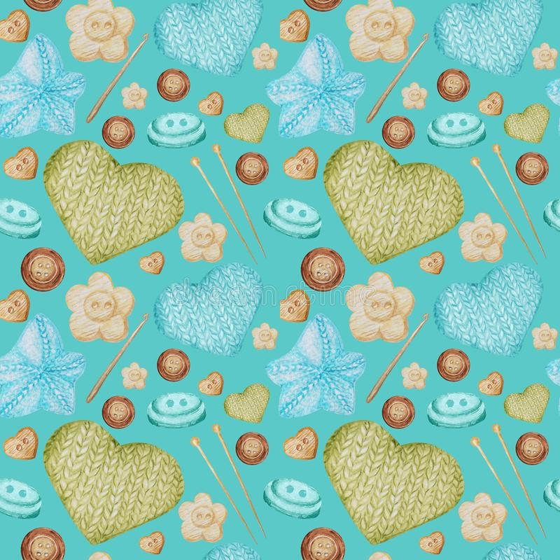 Watercolor Seamless pattern Hobby Knitting and Crocheting. Collection of hand drawn light blue, green, beige, brown stock images