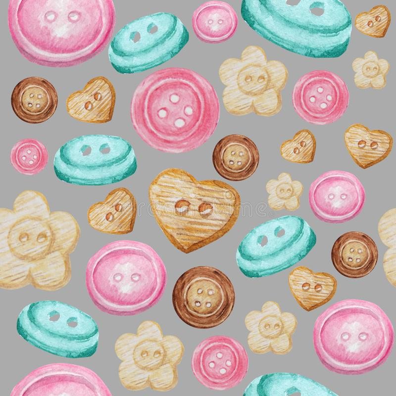Collection of hand drawn buttons on gray background. Watercolor Seamless pattern Hobby Knitting, Crocheting and Sewing. royalty free illustration