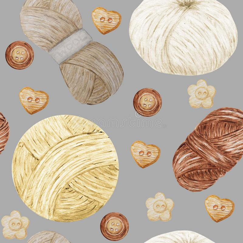 Watercolor Seamless pattern Hobby Knitting and Crocheting , Wool Yarn Cute. Collection of hand drawn balls of yarn for royalty free illustration