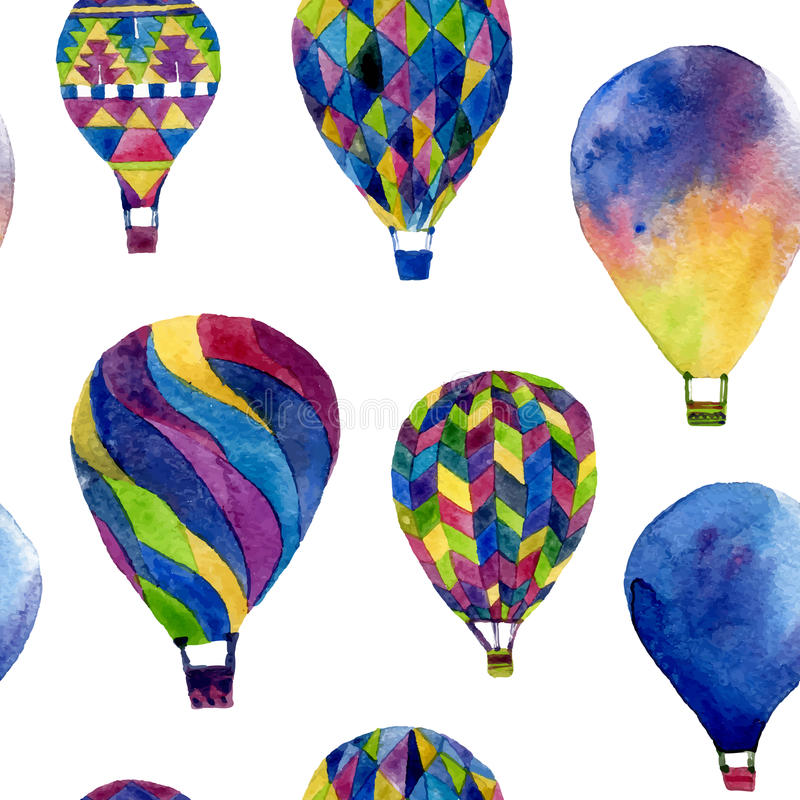 Watercolor seamless pattern with hot air balloon royalty free stock images