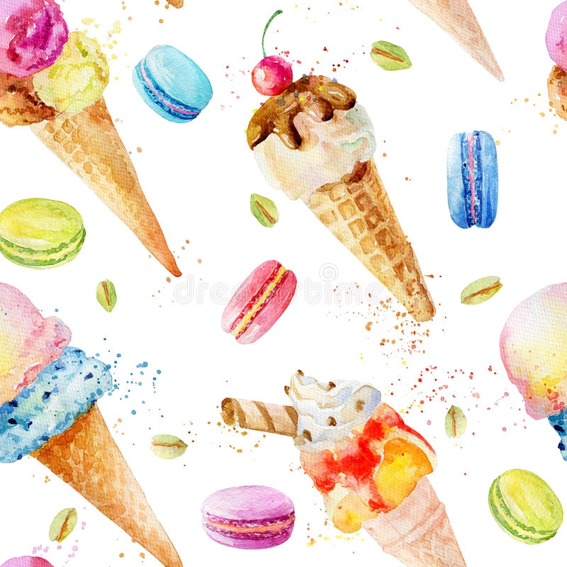 Seamless Pattern With Hand Drawn Watercolor Ice Cream: Watercolor Seamless Pattern With Ice Cream And Macaroons