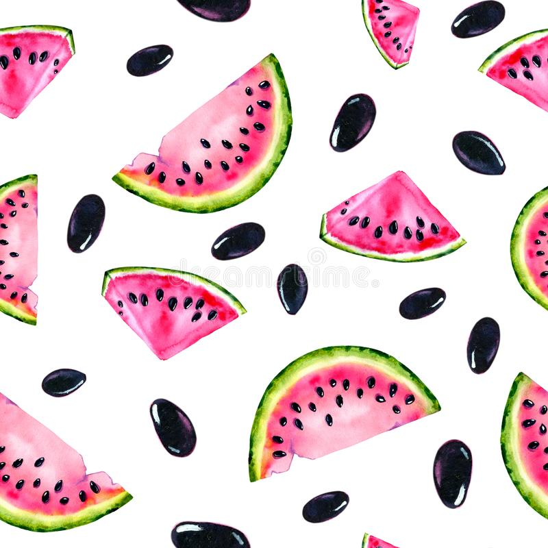 Watercolor seamless pattern with the image of a watermelon. Juicy pulp and seeds for print design, banner, poster, cover,. Invitations, greetings, weddings stock photos
