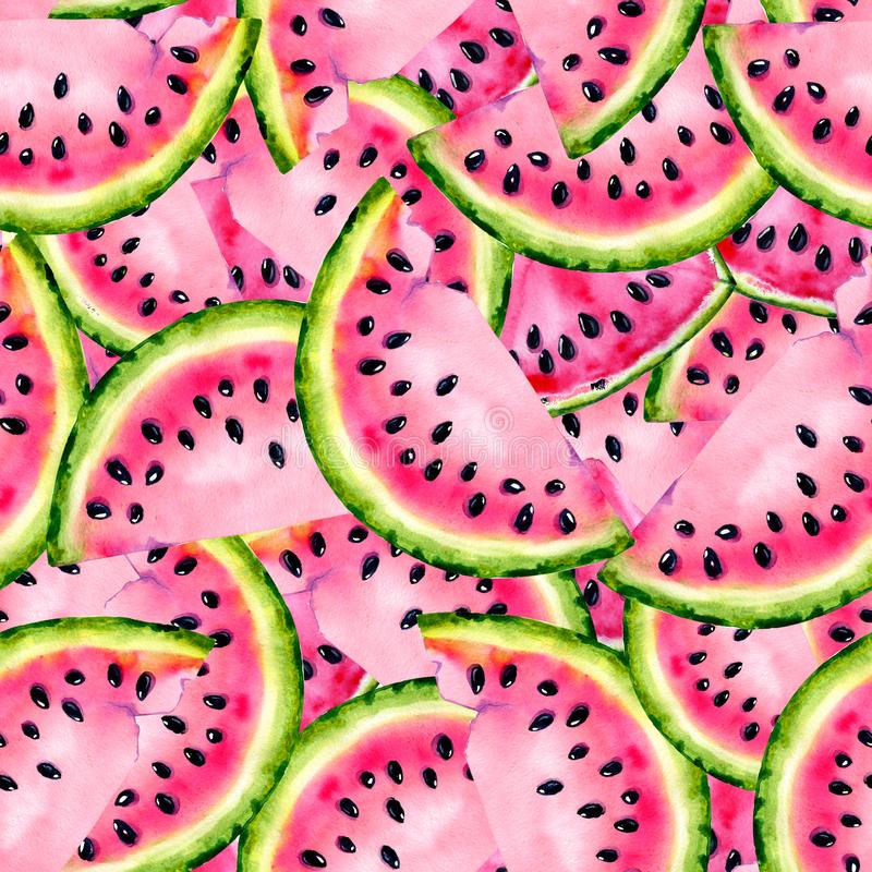 Watercolor seamless pattern with the image of a watermelon. Juicy pulp and seeds for print design, banner, poster, cover,. Invitations, greetings, weddings stock illustration