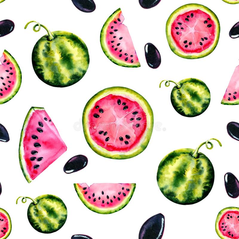 Watercolor seamless pattern with the image of a watermelon. Juicy pulp and seeds for print design, banner, poster, cover,. Invitations, greetings, weddings stock photography