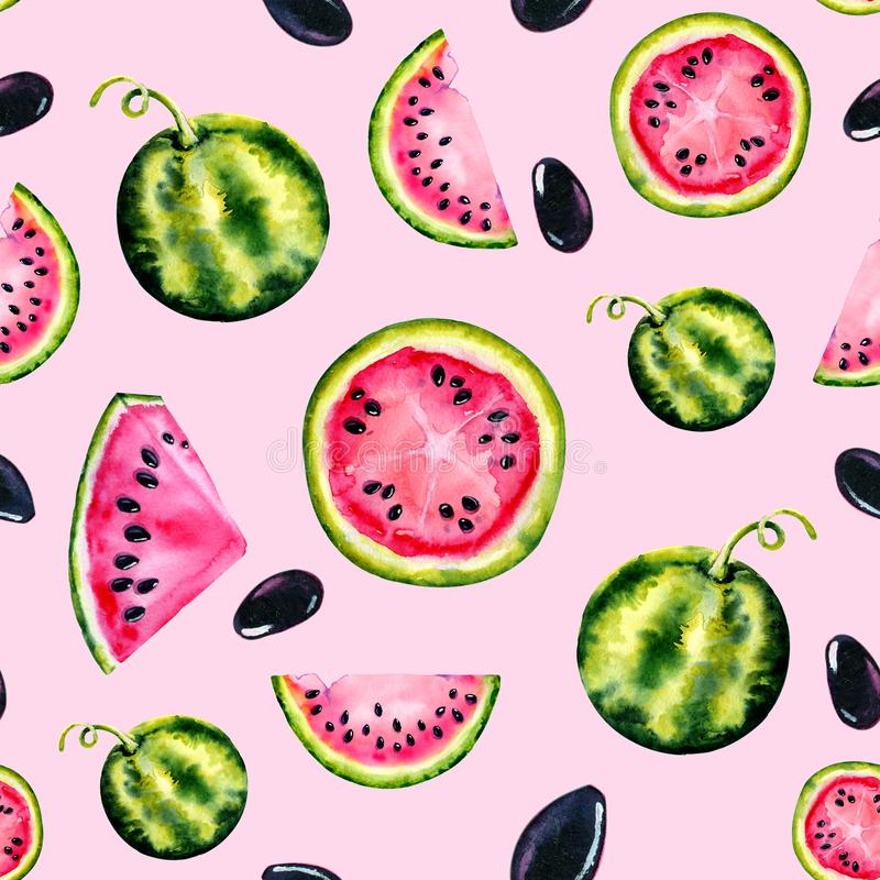 Watercolor seamless pattern with the image of a watermelon. Juicy pulp and seeds for print design, banner, poster, cover,. Invitations, greetings, weddings royalty free stock images