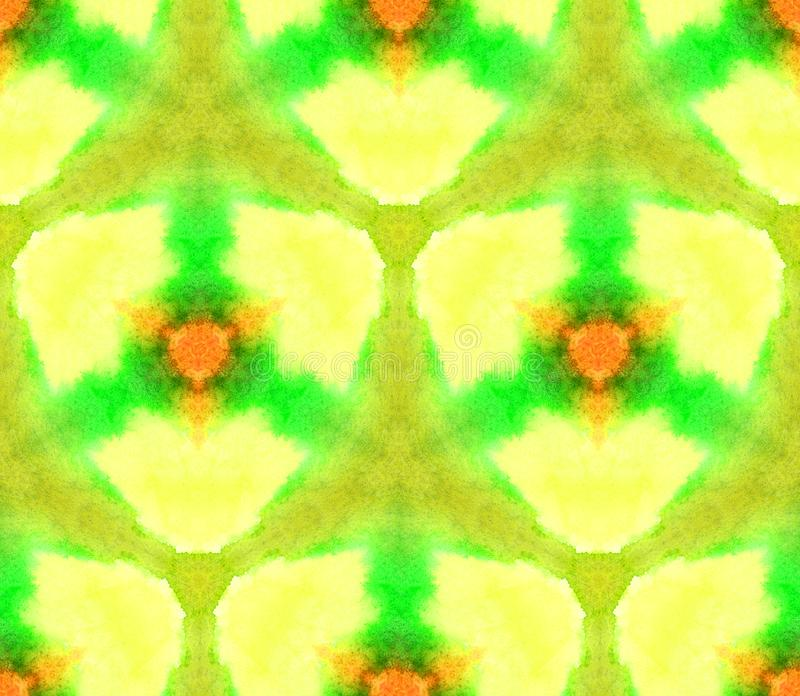 Watercolor seamless pattern kaleidoscope from the texture of light, pure colors yellow royalty free illustration
