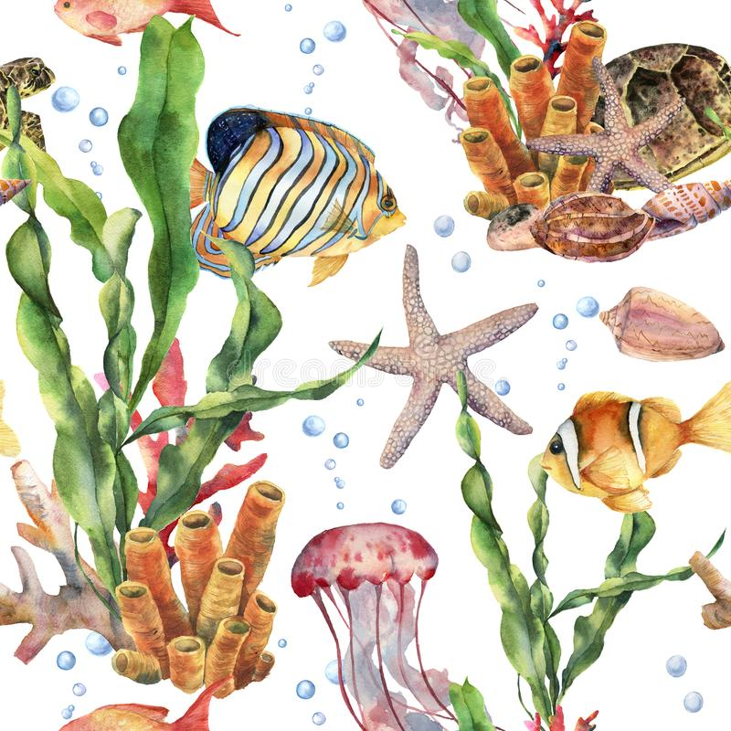 Watercolor seamless pattern with laminaria branch, coral reef and sea animals. Hand painted jellyfish, starfish. Tropical fish, air and shell. Nautical vector illustration