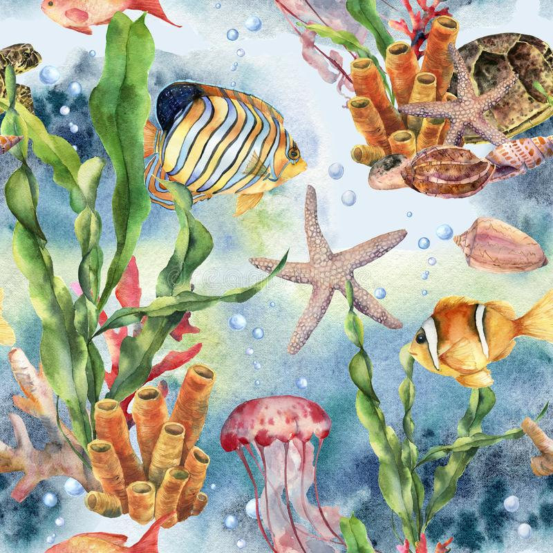 Watercolor seamless pattern with laminaria branch, coral reef and sea animals. Hand painted jellyfish, starfish stock photography