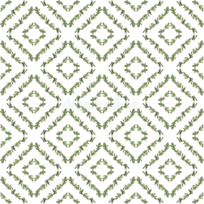 Watercolor seamless pattern with leaves stock illustration