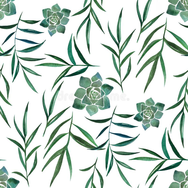 Watercolor seamless pattern with leaves and succulents stock illustration