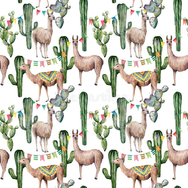 Watercolor seamless pattern with llama, flag garland and cacti. Hand painted beautiful illustration with animals and royalty free stock image