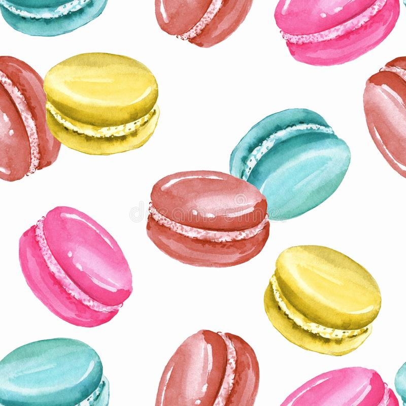 Watercolor seamless pattern with macaroons royalty free illustration