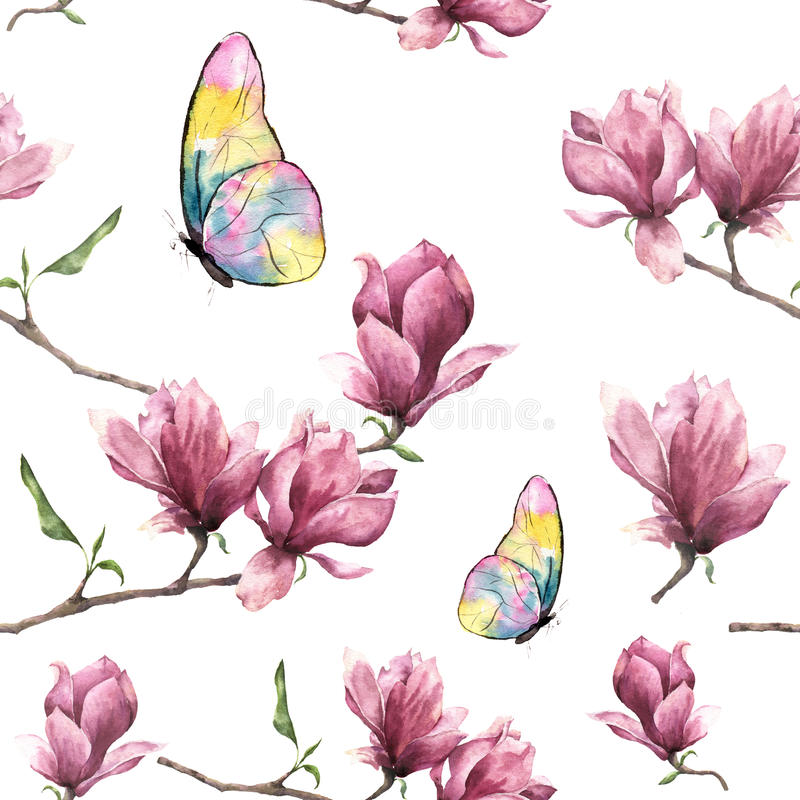 Watercolor seamless pattern with magnolia and butterfly. Hand painted floral ornament with insect object isolated on vector illustration