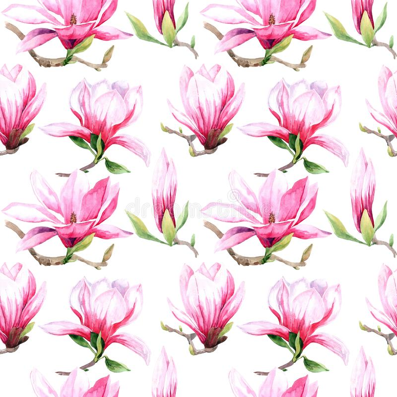 Watercolor seamless pattern of magnolia flowers. Magnolia spring bloom. Greeting card and wedding invitation vector illustration