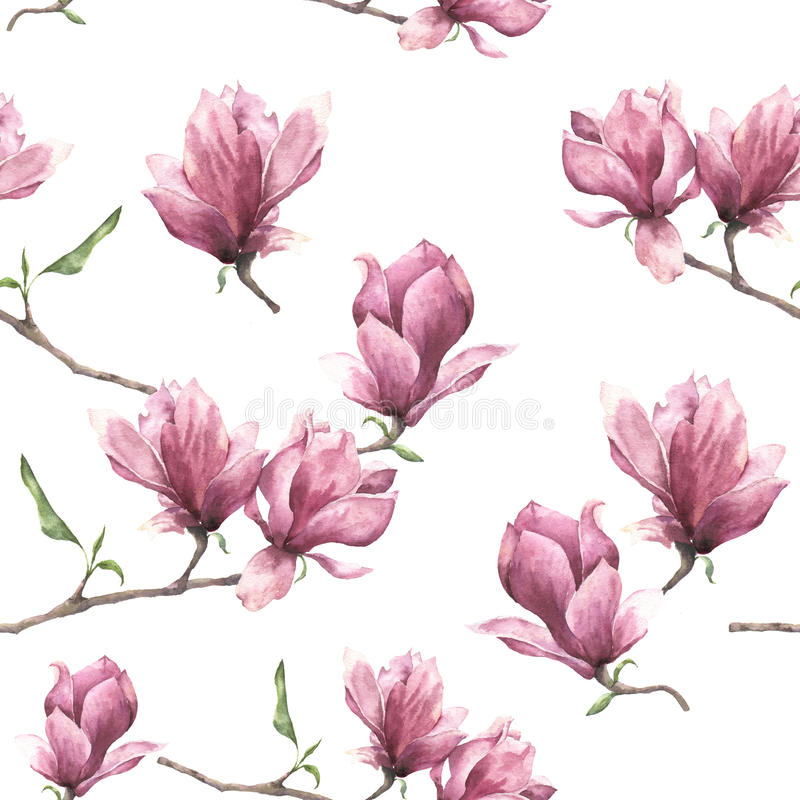Watercolor seamless pattern with magnolia. Hand painted floral ornament isolated on white background. Pink flower for stock illustration