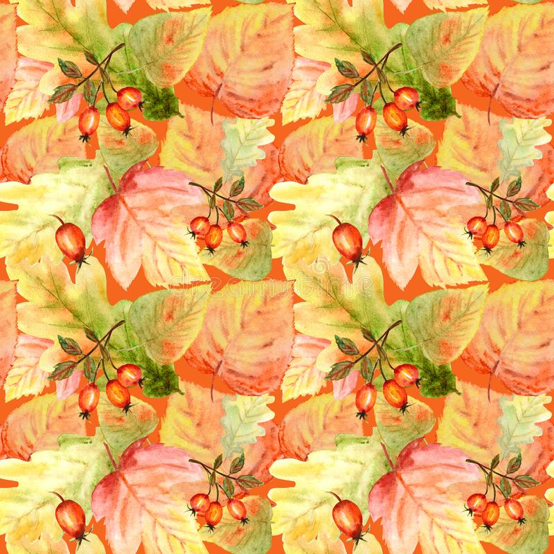Watercolor Seamless pattern with bright colors forest leaves and branches. Beautiful autumn background in orange, green royalty free stock photo