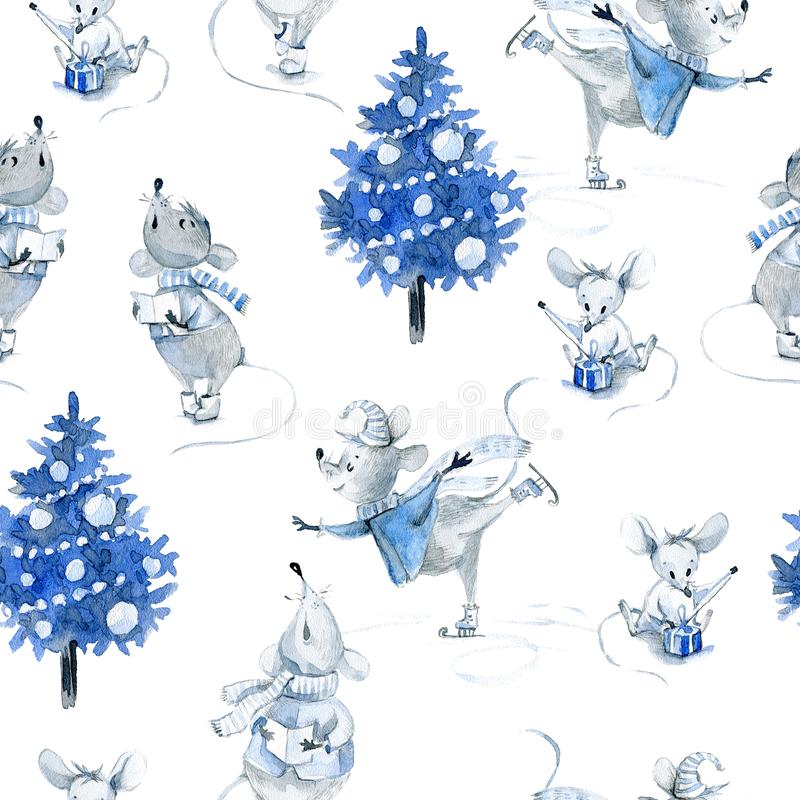 Watercolor seamless pattern with mice, winter cute characters royalty free stock photography