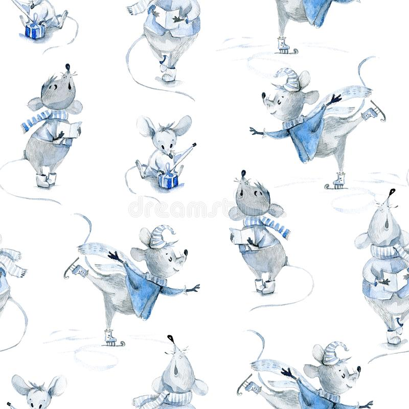 Watercolor seamless pattern with mice, winter cute characters stock photography