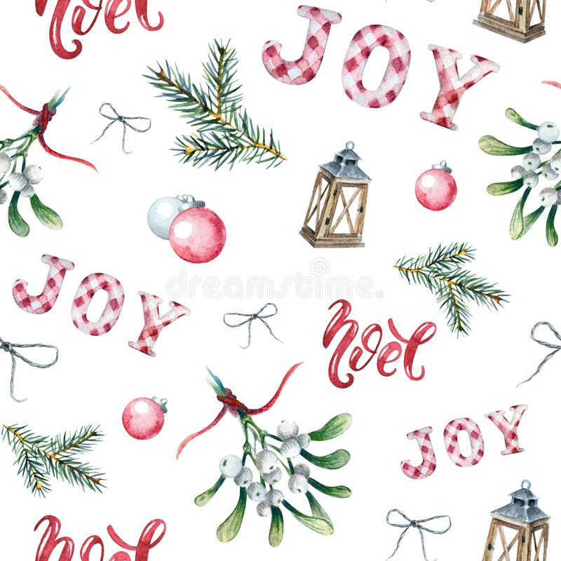 Watercolor seamless pattern with mistletoe sprigs stock illustration