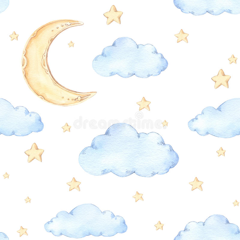 Watercolor seamless pattern - moon and stars. Ideas for a childr vector illustration