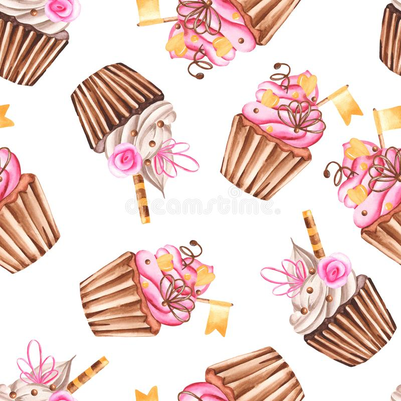 Watercolor seamless pattern with muffins. Repeating texture with sweet cupcakes for wallpaper, cloth, scrapbooking, packaging royalty free illustration