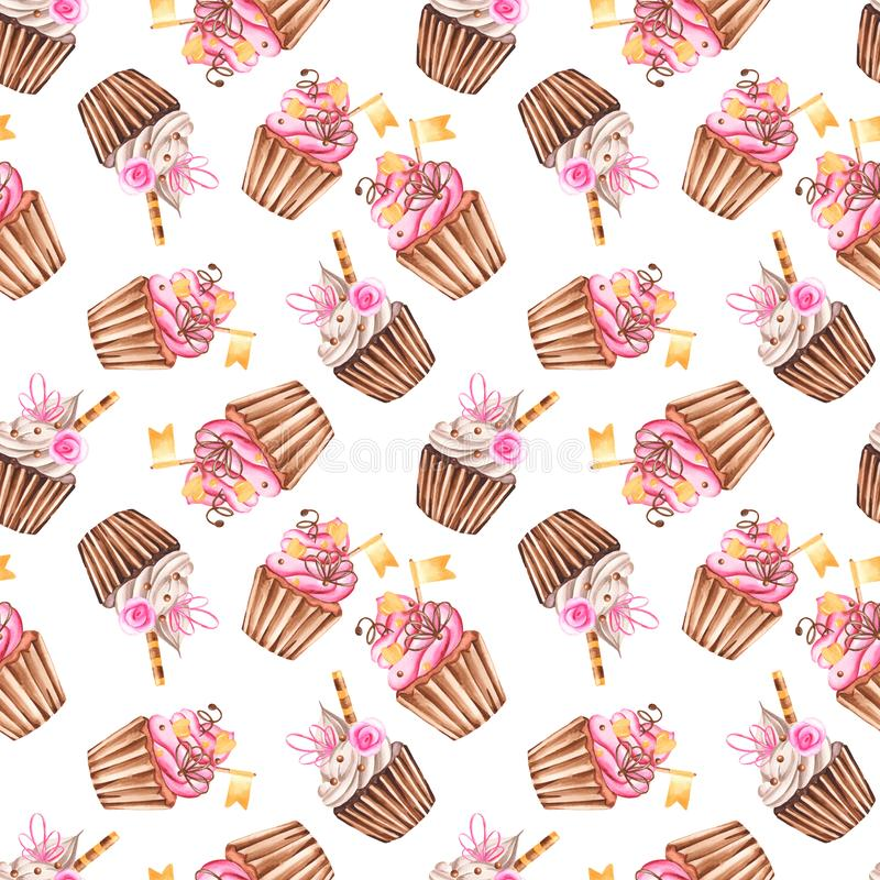Watercolor seamless pattern with muffins. Repeating texture with sweet cupcakes for wallpaper, cloth, scrapbooking, packaging vector illustration