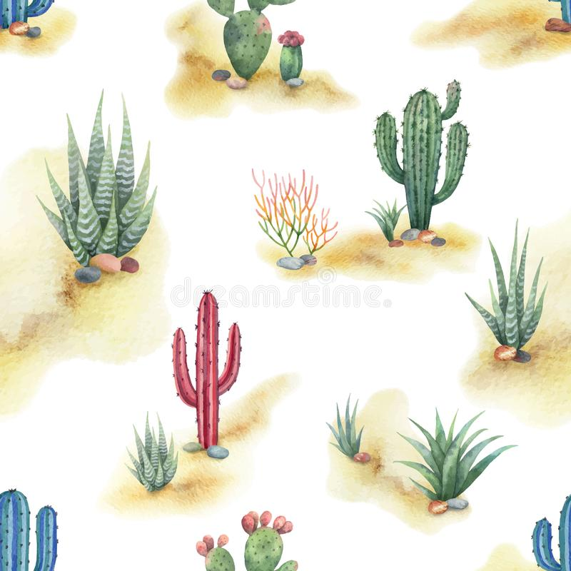 Free Watercolor Seamless Pattern Of Landscape With Desert And Cacti Isolated On White Background. Royalty Free Stock Photos - 112291818