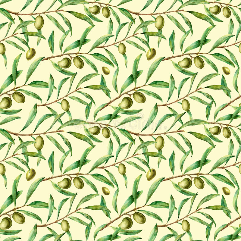 Watercolor seamless pattern with olive branches. Hand painted floral ornament with olive berry and tree branches with royalty free illustration