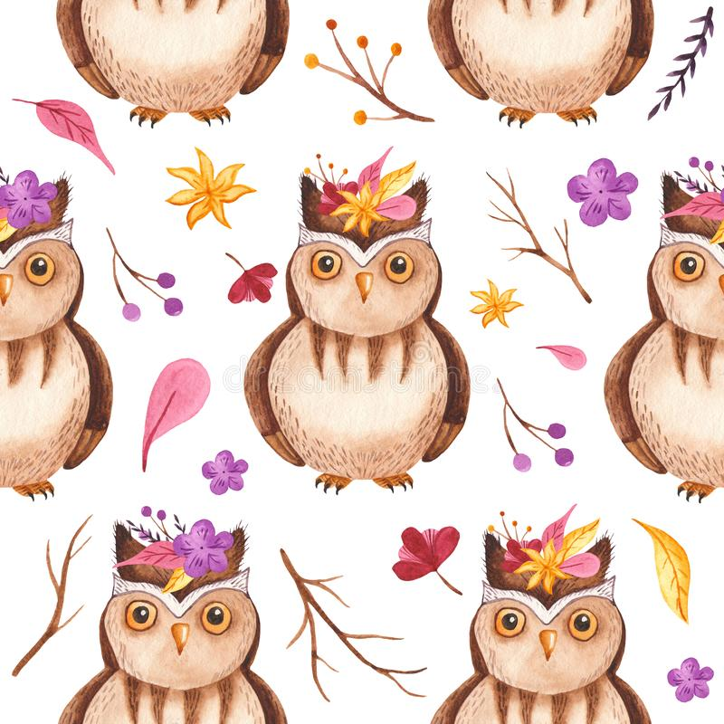 Watercolor seamless pattern with owl, branches, flowers, leaves. royalty free illustration