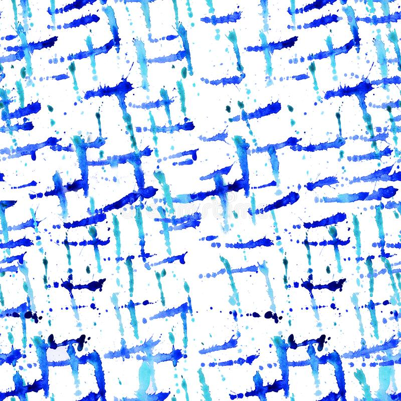 Watercolor seamless pattern paint dab isolated on white background. Abstract free designs clip art background. Blue paint splashes. With color mixture overflow stock illustration