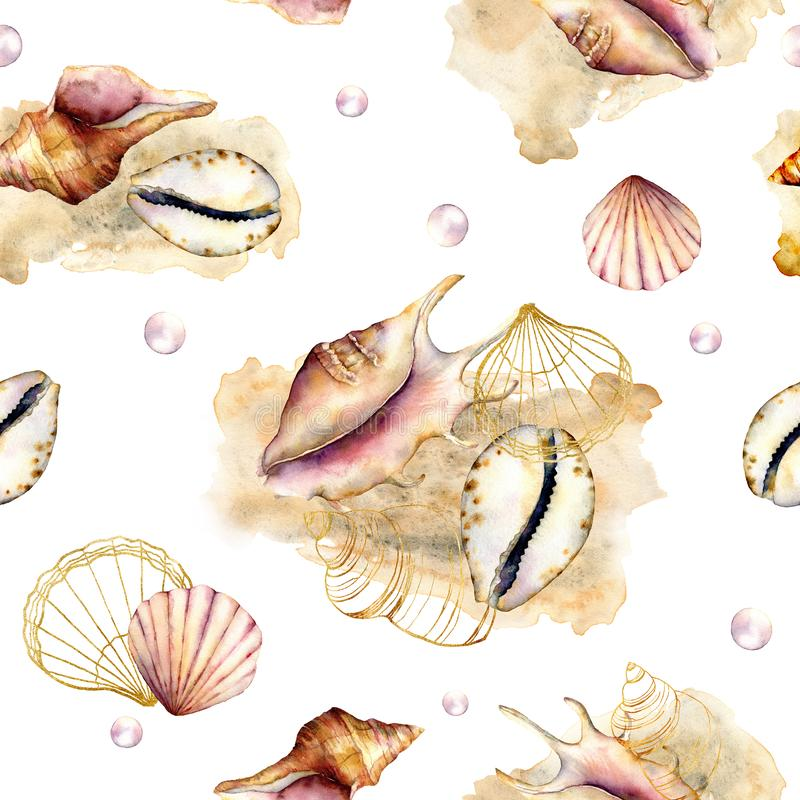 Watercolor seamless pattern with pastel shells. Hand painted underwater ornament with delicate seashells, pearls and stock illustration