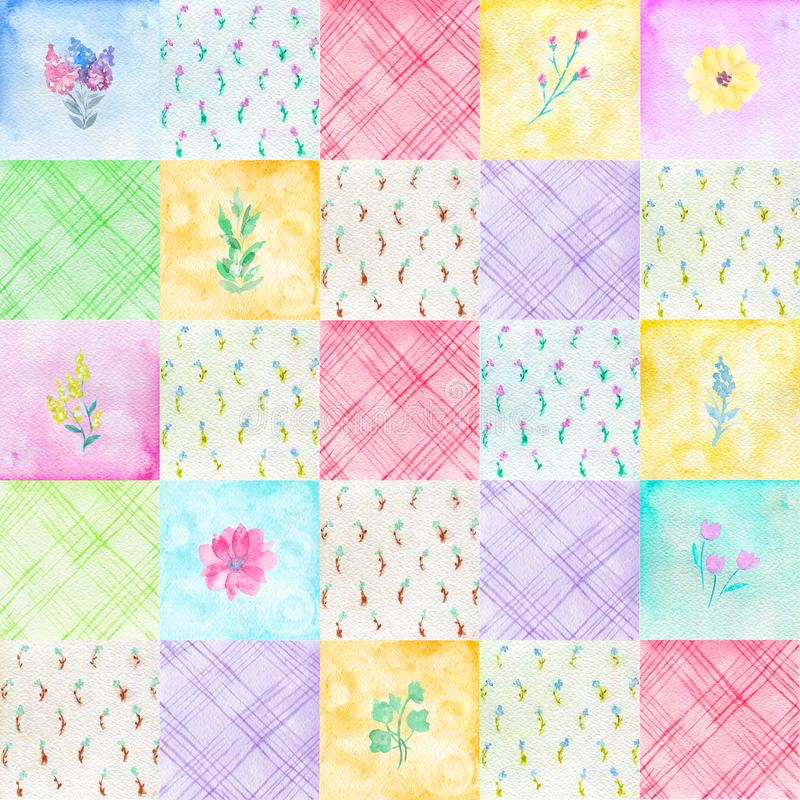 Watercolor seamless pattern in patchwork style vector illustration