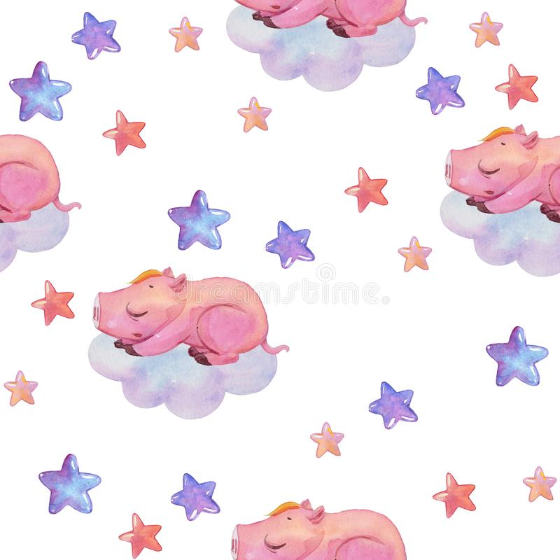 Watercolor seamless pattern with piggy dreaming on cloud isolated on white. Hand painted texture with cartoon sleeping character stock illustration