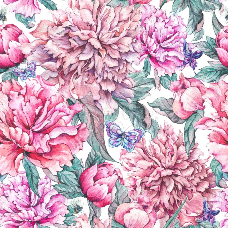Watercolor seamless pattern pink flowers peonies stock illustration