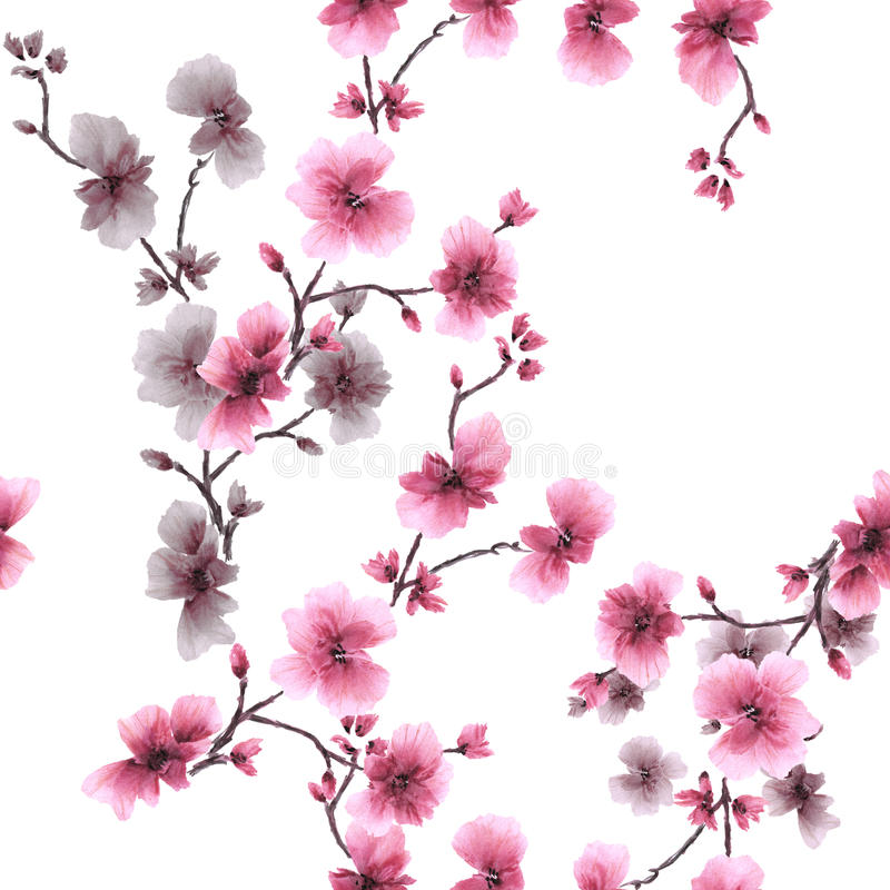 Watercolor seamless pattern pink and gray flowers on a white background stock photos