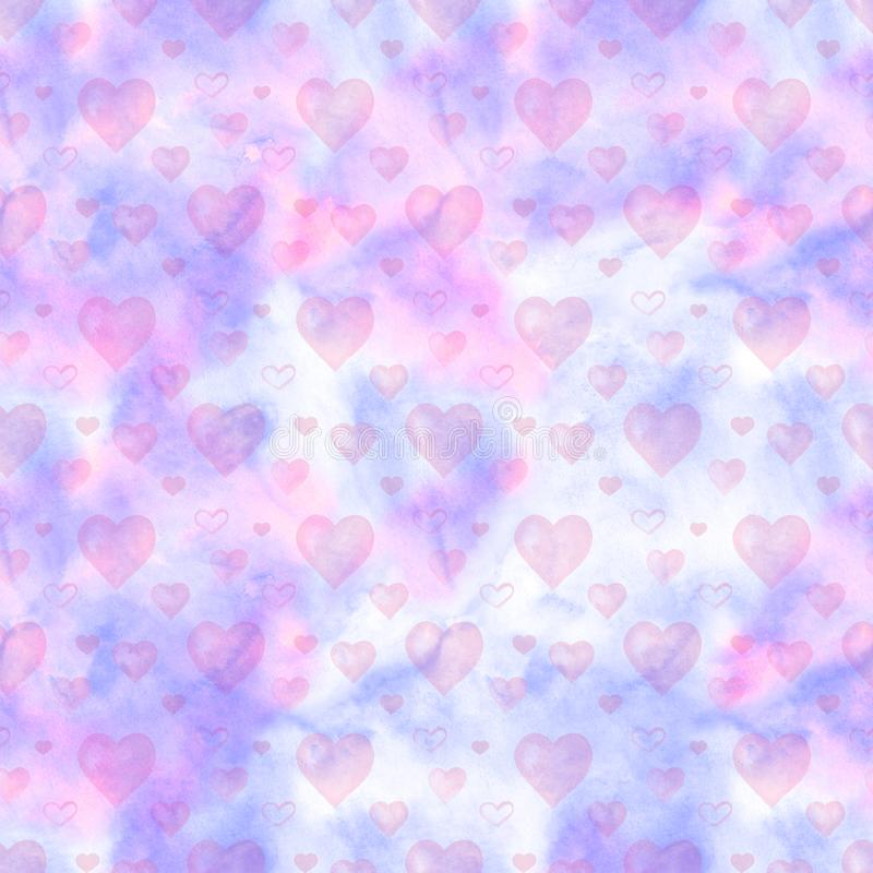 Watercolor seamless pattern with pink hearts and clouds. Perfect for greeting card, wallpaper, textile design. Hand royalty free illustration