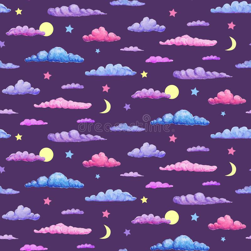 Watercolor seamless pattern of pink purple and blue clouds on night sky background. pastel clouds with stars, crescent and full. Watercolor seamless pattern of royalty free stock images
