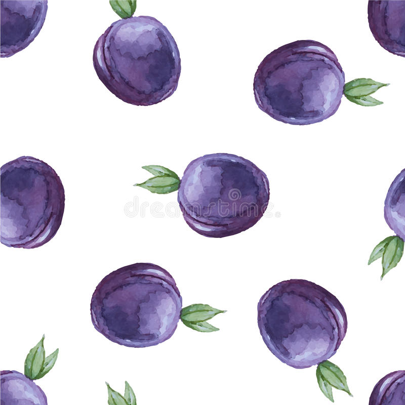 Watercolor seamless pattern with plums. stock illustration