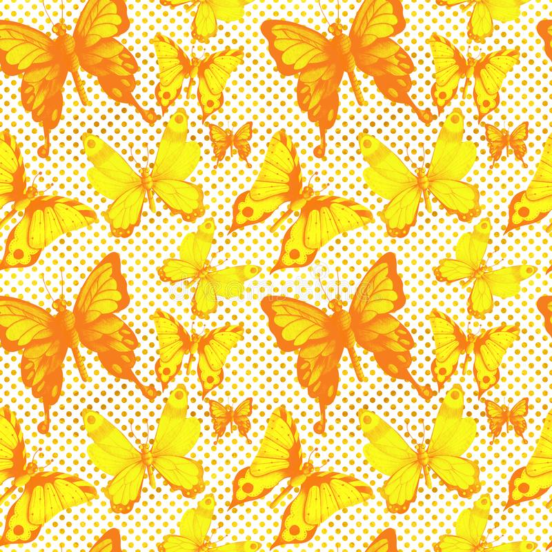 Watercolor seamless pattern in pop art style with butterflies and dots vector illustration