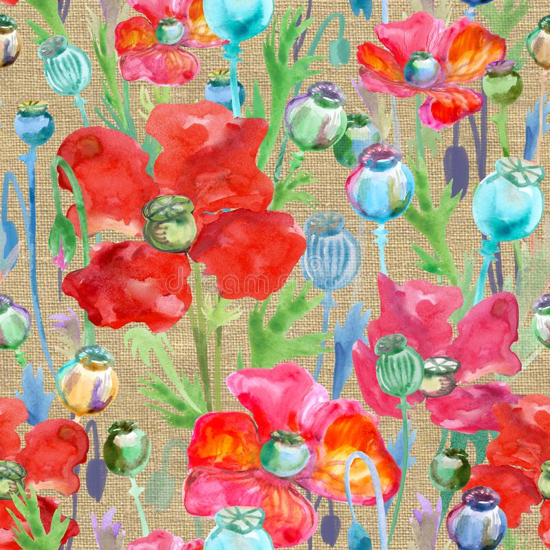 Poppy pattern watercolor vector illustration