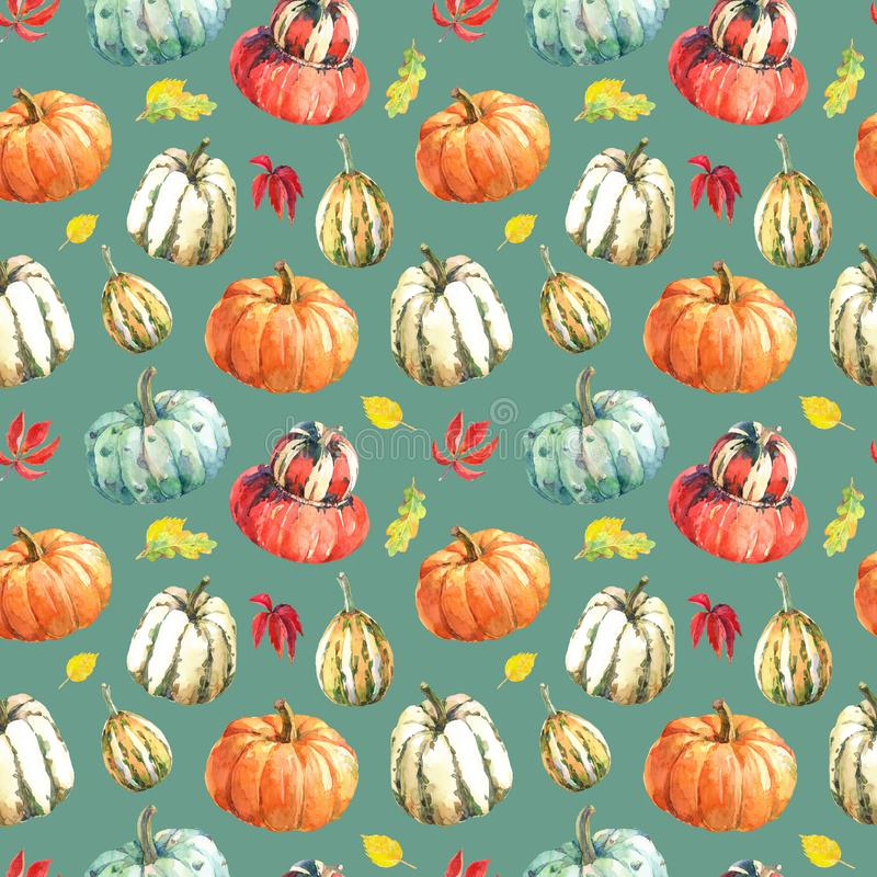 Watercolor seamless pattern with pumpkins and autumn leaves. stock illustration