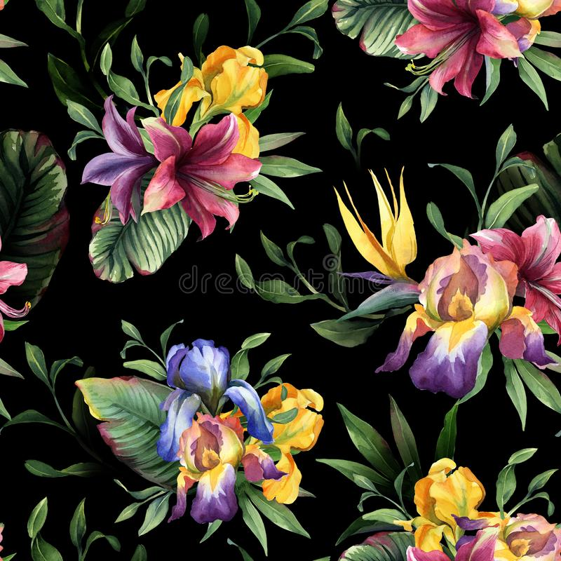 Watercolor seamless pattern with purple, yellow and blue iris and tropical flower and green leaves. On dark background royalty free illustration