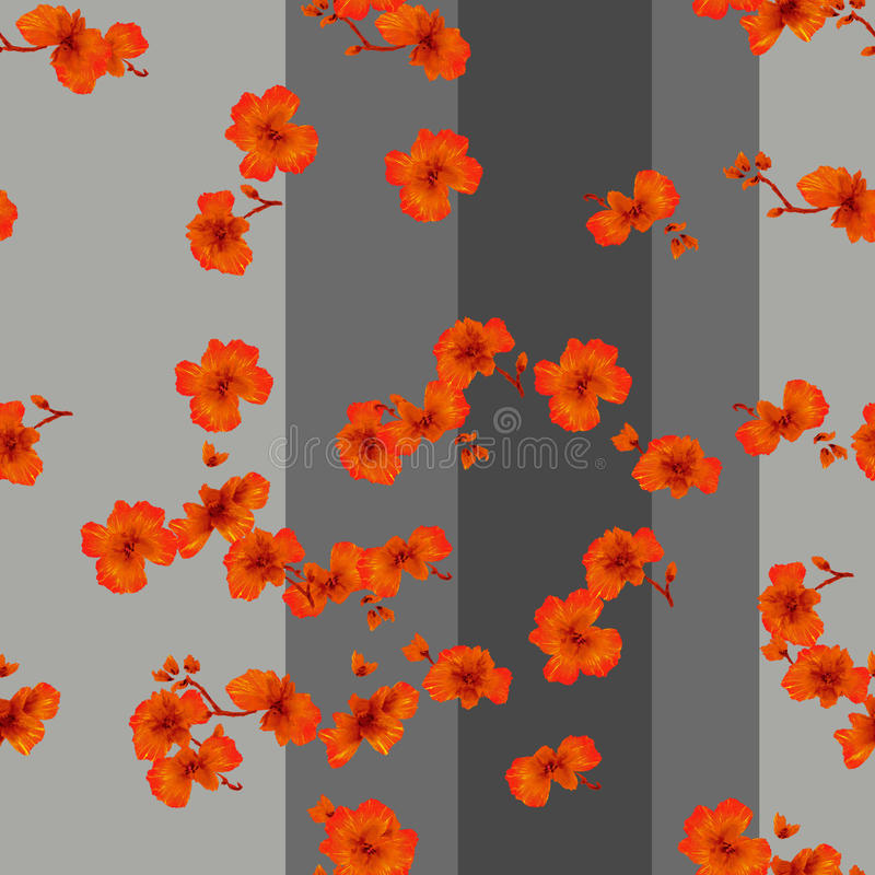 Watercolor seamless pattern red flowers on a gray background royalty free stock photos