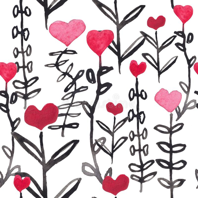 Watercolor seamless pattern with red hearts. royalty free illustration