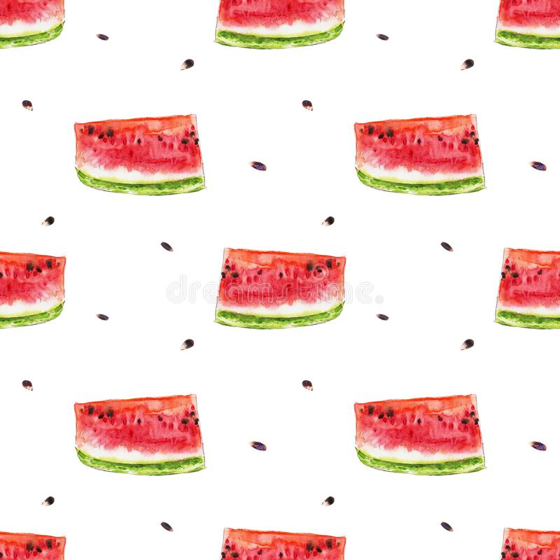 Watercolor seamless pattern from red juicy watermelon slicies. stock illustration