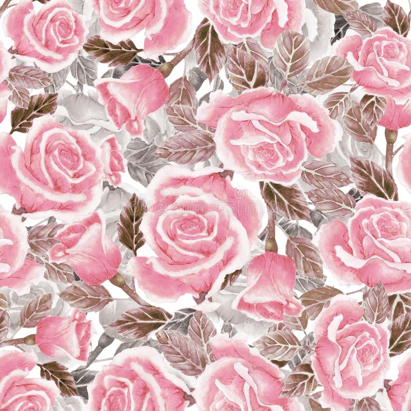 Watercolor seamless pattern with red roses stock illustration