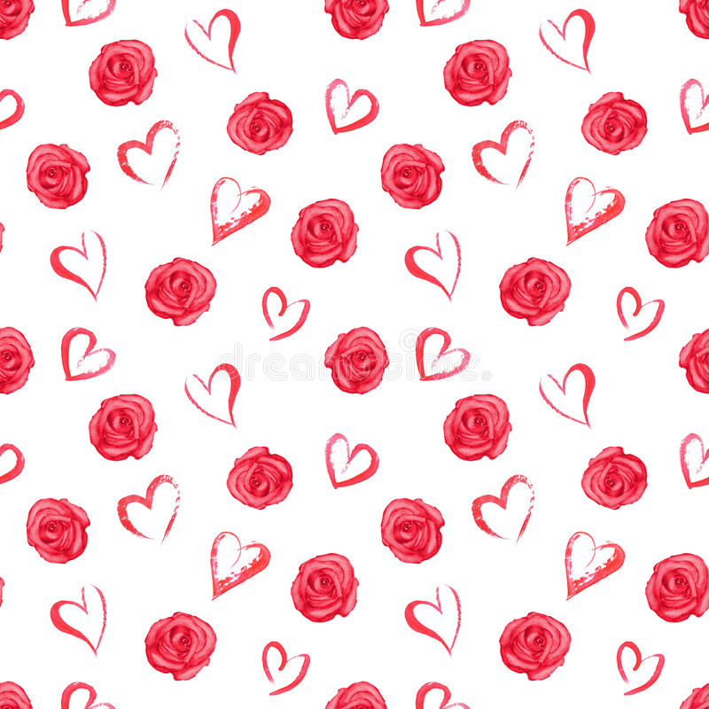 Watercolor seamless pattern with red roses and hearts stock illustration